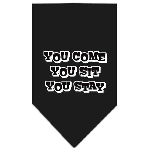 You Come, You Sit, You Stay Screen Print Bandana Black Small-you come you sit you stay screen print bandana-Bella's PetStor