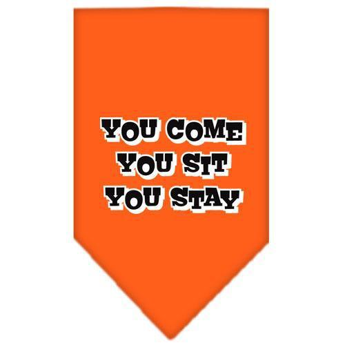 You Come, You Sit, You Stay Screen Print Bandana Orange Large-you come you sit you stay screen print bandana-Bella's PetStor