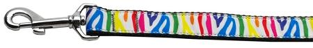 Zebra Rainbow Nylon Dog Leash Inch Wide Long-Dog Collars-Bella's PetStor