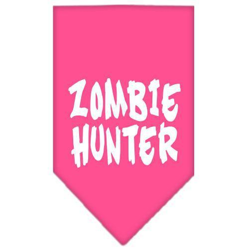 Zombie Hunter Screen Print Bandana Bright Pink Small-Zombie hunter screen print bandana halloween-Bella's PetStor