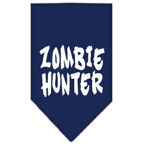 Zombie Hunter Screen Print Bandana Navy Blue Small-Zombie hunter screen print bandana halloween-Bella's PetStor
