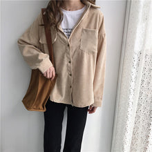 Load image into Gallery viewer, New Vintage Long Sleeve Shirts Spring and autumn Women Solid Batwing Sleeve Blouse Warm Corduroy blouses Women Tops