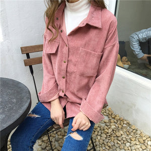 New Vintage Long Sleeve Shirts Spring and autumn Women Solid Batwing Sleeve Blouse Warm Corduroy blouses Women Tops