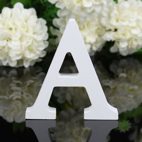 1pc White Wooden Letters English Alphabet Word Personalized Name Design Art Craft Free Standing Heart Shape Wedding Home Decor