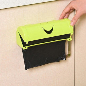 1PC Smile Face Garbage Bags Storage Box Container Wall-mounted Plastic Bag Holder Kitchen Grocery Dispenser Bathroom Organizer