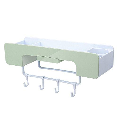 ISUE Adhesive Bathroom Organizer and Storage Wall Mount Shelf for Shampoo,Skin-Care Products with Hairdryer Holder,Towel Bar,Hanger Hooks,No Hole No Trace Green