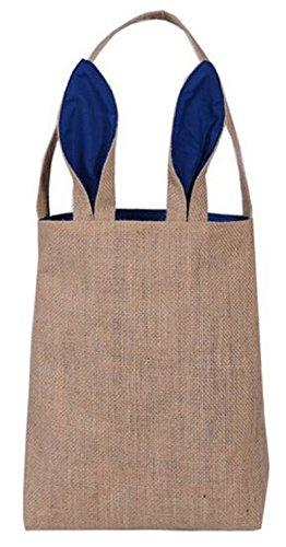 Easter Egg Hunt Basket Bag - Bunny Rabbit Ear Design - reusable baskets - kids party gift bags - baby shower & book storage - grocery shopping and more by Jolly Jon Products (Burlap / Navy Ears)