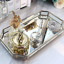 Load image into Gallery viewer, Try hersoo large classic vanity tray ornate decorative perfume elegant mirrorred tray for skincare dresser vintage organizer for bathroom countertop bathroom accessories organizer brass