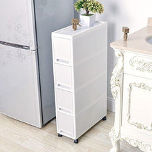 Load image into Gallery viewer, Storage shozafia narrow slim rolling storage cart and organizer 7 1 inches kitchen storage cabinet beside fridge small plastic rolling shelf with drawers for bathroom