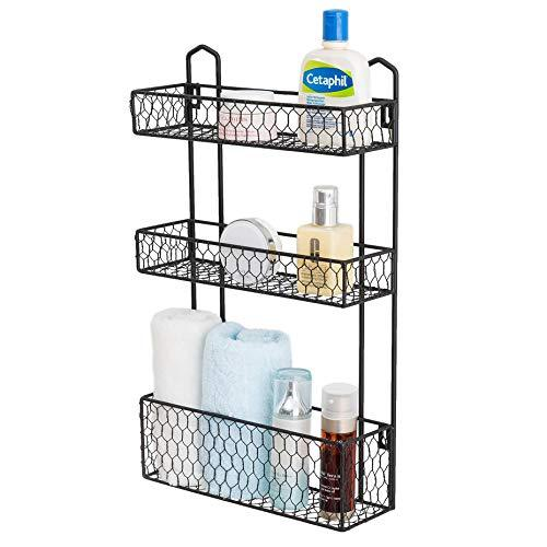 Mygift 3-Tier Rustic Chicken Wire Wall Hanging Bathroom Organizer Shelf Storage Rack