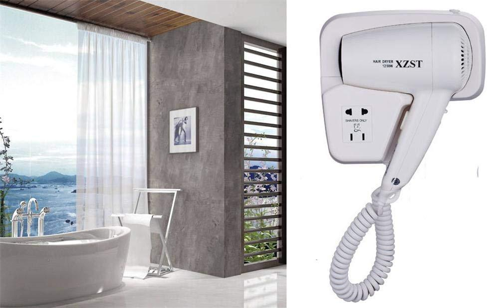 Shop xzst 1200 watt intelligence quiet bathroom wall mounted hair dryer hang up hair dryer with shaver charging wire white color