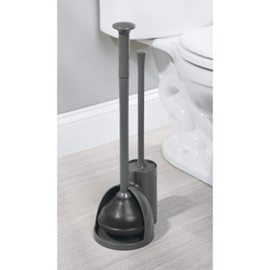 Exclusive mdesign modern slim compact freestanding plastic toilet bowl brush cleaner and plunger combo set kit with holder caddy for bathroom storage and organization covered lid brush 2 pack charcoal gray