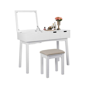 Top vanity set with dressing table flip top mirror organizer cushioned stool makeup wooden writing desk 2 drawers easy assembly beauty station bathroom white