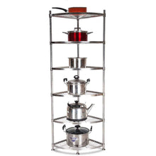 Load image into Gallery viewer, Exclusive ddshelf vertical shelf stainless steel kitchen triangle rack corner rack put pot shelf storage supplies floor multi storey office bathroom adjustable display stand color 6tier size 4040cm