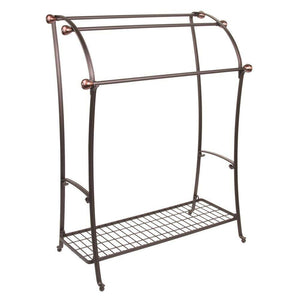 Amazon best mdesign large freestanding towel rack holder with storage shelf 3 tier metal organizer for bath hand towels washcloths bathroom accessories bronze warm brown