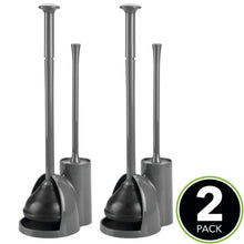 Load image into Gallery viewer, Explore mdesign modern slim compact freestanding plastic toilet bowl brush cleaner and plunger combo set kit with holder caddy for bathroom storage and organization covered lid brush 2 pack charcoal gray