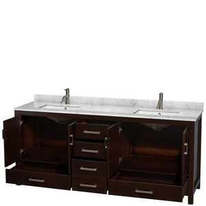 On amazon wyndham collection sheffield 80 inch double bathroom vanity in espresso white carrera marble countertop undermount square sinks and no mirror