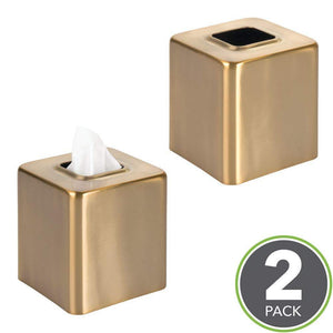Discover the mdesign modern square metal paper facial tissue box cover holder for bathroom vanity countertops bedroom dressers night stands desks and tables 2 pack soft brass