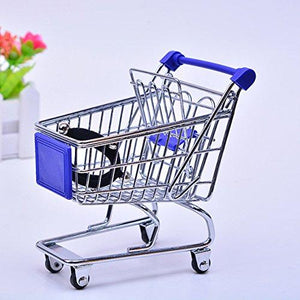 Mini Shopping CartToy Shopping CartKid Grocery Cart-Stainless Steel Perfume Lipstick Soap Storage Bathroom Organizer Mini Shopping Carts Sponge Egg Puff Bathroom - Blue