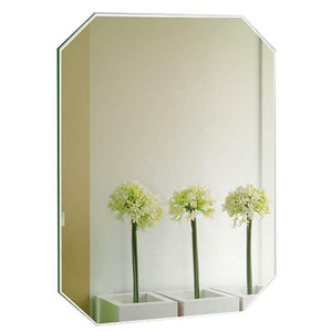 On amazon guowei mirror octagon frameless wall mounted high definition beveled bathroom makeup vanity 3 size color silver size 60x80cm