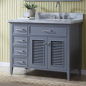 Shop here ariel d043s r gry kensington 43 inch right offset single sink bathroom vanity set in grey with carrara marble countertop