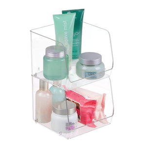 New mdesign large stackable plastic bathroom storage organizer bin basket with wide open front for vanity countertops cabinets closets under sinks cube 7 75 wide 4 pack clear