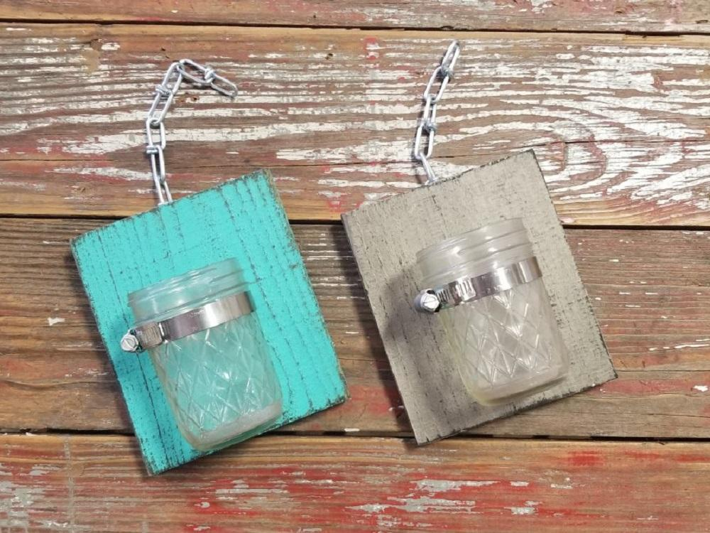 (Set of 2) R & W Decorative Handcrafted Wood With Mason Jar - Teal + Grey