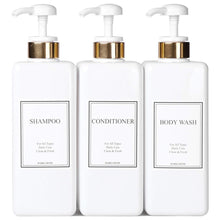 Load image into Gallery viewer, Purchase harra home modern gold design pump bottle set 27 oz refillable shampoo and conditioner dispenser empty shower plastic bottles with pump for bathroom lotion body wash massage oils pack of 3 white