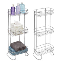Load image into Gallery viewer, Budget friendly mdesign rectangular metal bathroom shelf unit free standing vertical storage for organizing and storing hand towels body lotion facial tissues bath salts 3 shelves 2 pack chrome