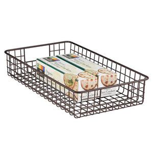 Storage mdesign household metal wire cabinet organizer storage organizer bins baskets trays for kitchen pantry pantry fridge closets garage laundry bathroom 16 x 9 x 3 4 pack bronze