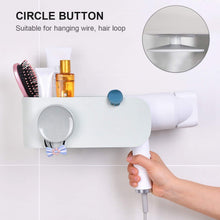 Load image into Gallery viewer, Organize with visv hair dryer holder wall mount hair tools holder bathroom styling tool organizer no drilling styling tool holder for bathroom storage grey