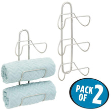 Load image into Gallery viewer, Results mdesign modern decorative metal 3 level wall mount towel rack holder and organizer for storage of bathroom towels washcloths hand towels 2 pack satin