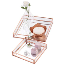 Load image into Gallery viewer, Budget koyal wholesale glass mirror square trays vanity set of 2 rose gold decorative mirrored trays for coffee table bar cart dresser bathroom perfume makeup wedding centerpieces