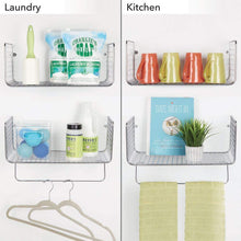 Load image into Gallery viewer, Featured mdesign metal wire farmhouse wall decor storage organizer shelving set 1 shelf with towel bar for bathroom laundry room kitchen garage wall mount 2 pieces chrome
