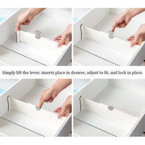 Purchase kingrol 4 pack adjustable drawer organizer dividers with foam ends for kitchen dresser bedroom bathroom office storage