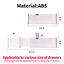 Load image into Gallery viewer, Featured diommell 4 pack adjustable dresser drawer dividers organizers plastic expandable drawer organization separators for kitchen bedroom closet bathroom and office drawers white