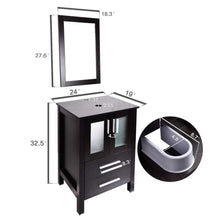 Load image into Gallery viewer, Storage organizer 24 inch bathroom vanity modern stand pedestal cabinet wood black fixture with mirror ocean blue tempered glass sink top with single faucet hole