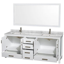 Load image into Gallery viewer, Shop for wyndham collection sheffield 80 inch double bathroom vanity in white white carrera marble countertop undermount square sinks and 70 inch mirror