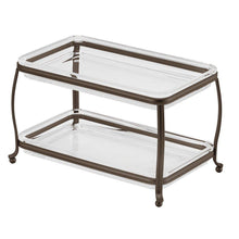 Load image into Gallery viewer, Exclusive interdesign york plastic free standing double vanity tray 2 shelves storage for countertops desks dressers bathroom 10 5 x 6 5 x 6 bronze and clear