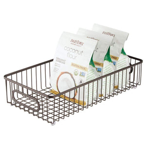 Purchase mdesign extra long household metal drawer organizer tray storage organizer bin basket built in handles for kitchen cabinets drawers pantry closet bedroom bathroom 8 wide 4 pack bronze