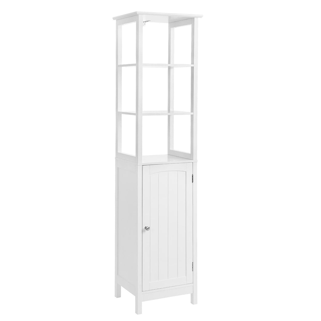 Online shopping vasagle floor cabinet multifunctional bathroom storage cabinet with 3 tier shelf free standing linen tower wooden white ubbc63wt