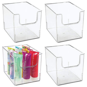 Order now mdesign plastic open front bathroom storage organizer basket bin for cabinets shelves countertops bedroom kitchen laundry room closet garage 8 wide 4 pack clear