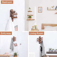 Load image into Gallery viewer, Buy now solid wood swivel coat hooks folding swing arm 5 hat hanger rail multi foldable arms towel clothes hanger for bathroom entryway bedroom office kitchen kids garage wall mount accessories walnut wood