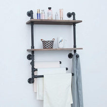 Load image into Gallery viewer, Try industrial towel rack with 3 towel bar 24in rustic bathroom shelves wall mounted 2 tiered farmhouse black pipe shelving wood shelf metal floating shelves towel holder iron distressed shelf over toilet