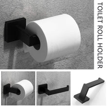 Load image into Gallery viewer, Home velimax premium stainless steel bathroom hardware set black 4 pieces bathroom hardware accessories set wall mounted towel bar towel holder hook toilet paper holder matte black