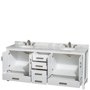 Save on wyndham collection sheffield 80 inch double bathroom vanity in white white carrera marble countertop undermount oval sinks and no mirror