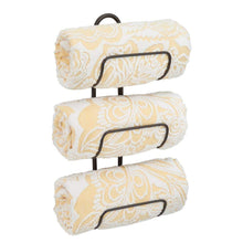 Load image into Gallery viewer, Discover the best mdesign modern decorative metal 3 level wall mount towel rack holder and organizer for storage of bathroom towels washcloths hand towels 2 pack bronze