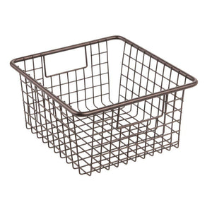Top rated mdesign farmhouse decor metal wire food storage organizer bin basket with handles for kitchen cabinets pantry bathroom laundry room closets garage 10 25 x 9 25 x 5 25 4 pack bronze