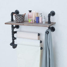 Load image into Gallery viewer, Top rated industrial towel rack with 3 towel bar 24in rustic bathroom shelves wall mounted farmhouse black pipe shelving wood shelf metal floating shelves towel holder iron distressed shelf over toilet