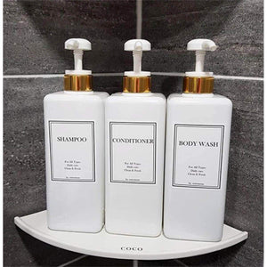Save harra home modern gold design pump bottle set 27 oz refillable shampoo and conditioner dispenser empty shower plastic bottles with pump for bathroom lotion body wash massage oils pack of 3 white